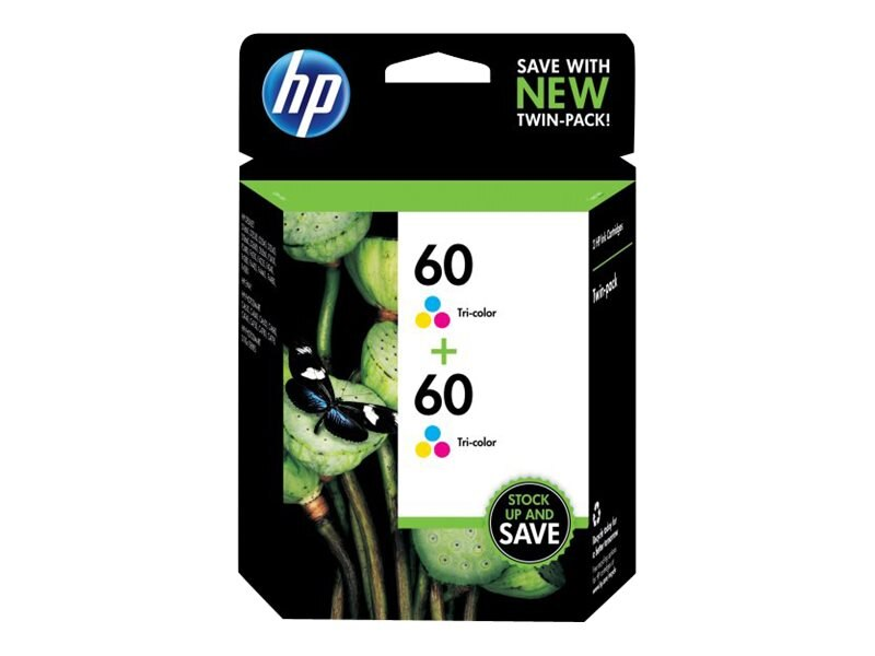 HP 60 (CZ072FN) 2-pack Tri-color Original Ink Cartridges, CZ072FN#140