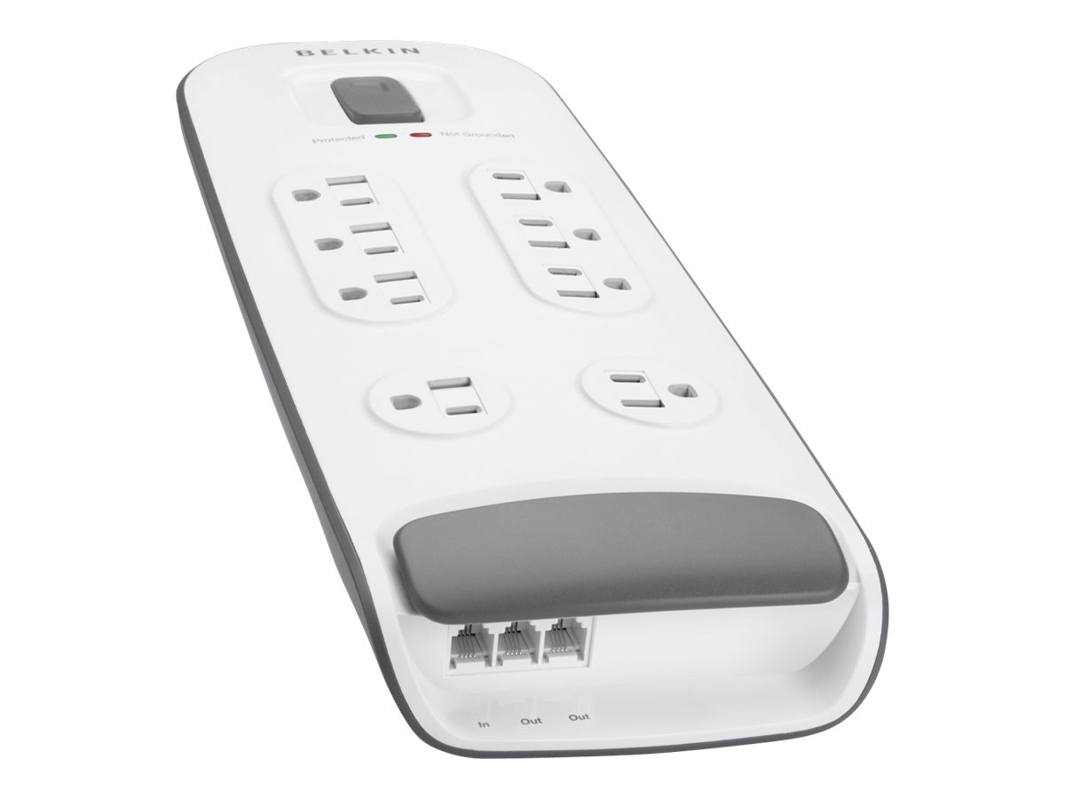 Belkin Surge Protector (8) Outlets 6ft Cord 3690 Joules Telephone Protection White, BV108200-06, 11819388, Surge Suppressors