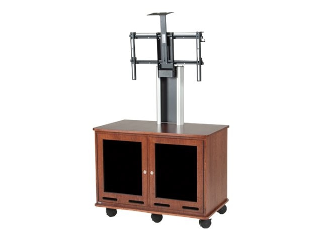 Da-Lite Single Monitor Video Conferencing Cart, Mahogany Laminate