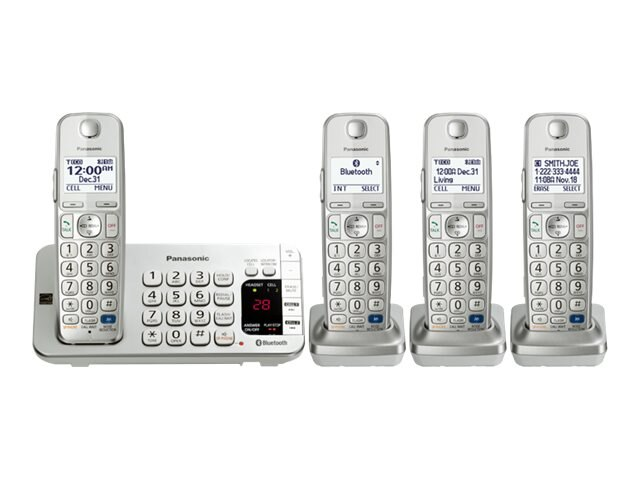 Panasonic Link2Cell BT Cordless Phone w  Answering Machine & (4) Handsets - Silver