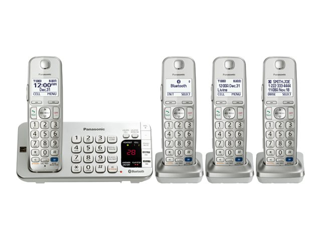 Panasonic Link2Cell BT Cordless Phone w  Answering Machine & (4) Handsets - Silver, KX-TGE274S, 17729421, Telephones - Consumer