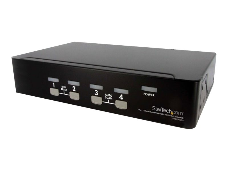 StarTech.com 4-Port Rack Mount USB KVM Switch with OSD, 1U, SV431DUSBU, 10996235, KVM Switches