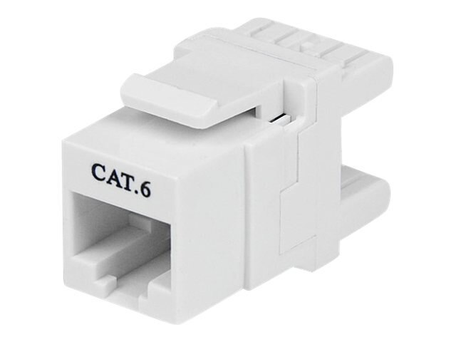 StarTech.com Keystone Jack RJ-45 Ethernet Cat6 180-degree Wall Jack 110 Type White, C6KEY110SWH, 14501412, Premise Wiring Equipment