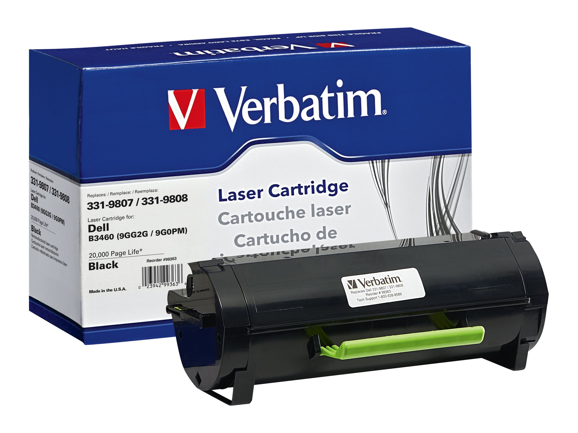 Verbatim 331-9807 331-9808 Toner Cartridge for Dell, 99363