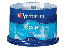 Verbatim 52x 700MB 80min. Branded CD-R Media (50-pack Spindle), 94691, 5205996, CD Media