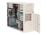 Supermicro Chassis, Mid Tower, 350W PS, EATX, 7 Bays, 4 SATA, FDD, Beige, CSE-733T-350, 6086950, Cases - Systems/Servers