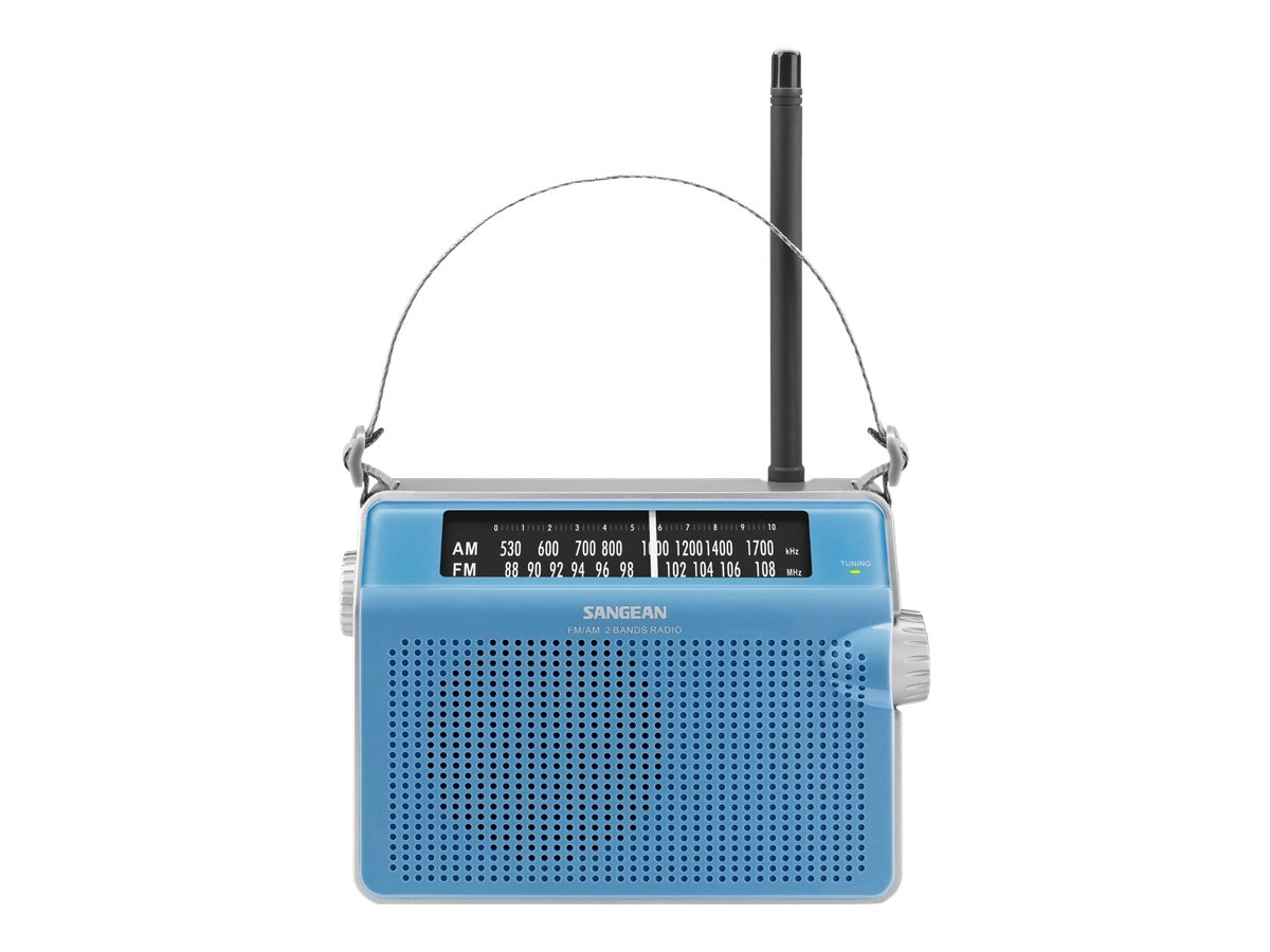 Sangean AM FM Compact Analog Radio with Lighted Display, Blue, PR-D6BU