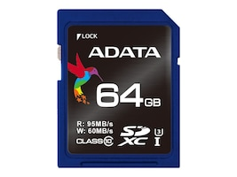 A-Data 64GB SDXC UHS-I U3 Flash Memory Card, Class 10, ASDX64GUI3CL10-R, 33972906, Memory - Flash