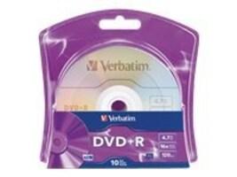 Verbatim 16x 4.7GB Branded Surface DVD+R Media (10-pack Blister), 96942, 11765480, DVD Media
