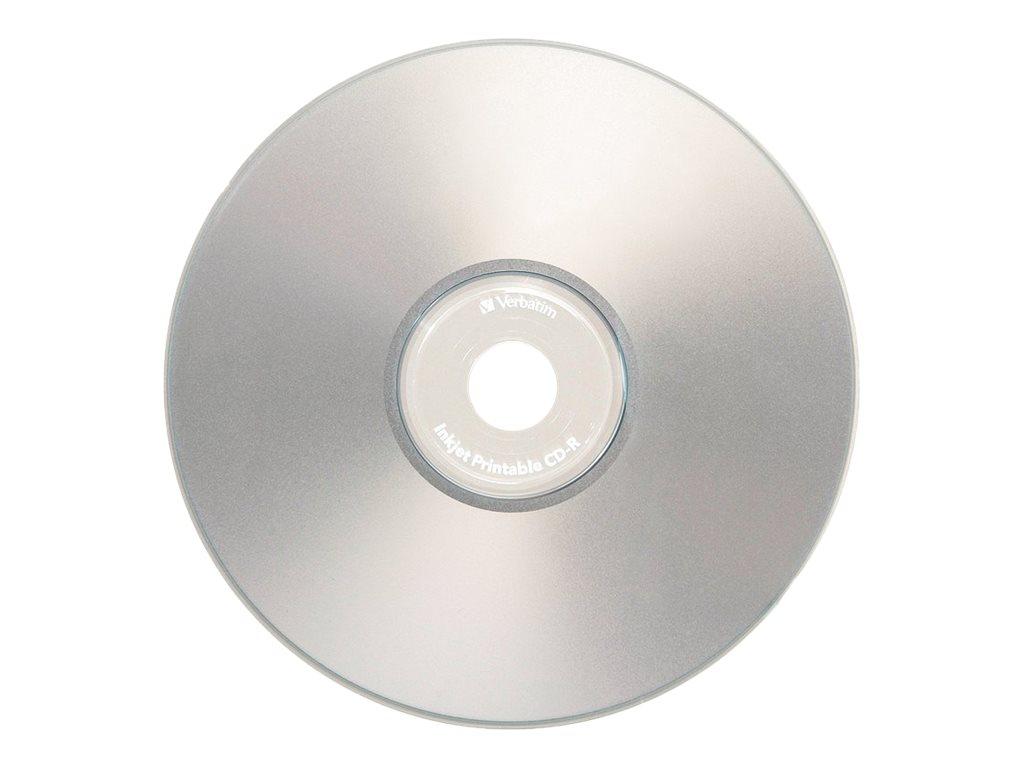 photo relating to Inkjet Printable Cds identify Verbatim 52x 700MB 80min. Silver Inkjet Printable CD-R Media (10-pack)