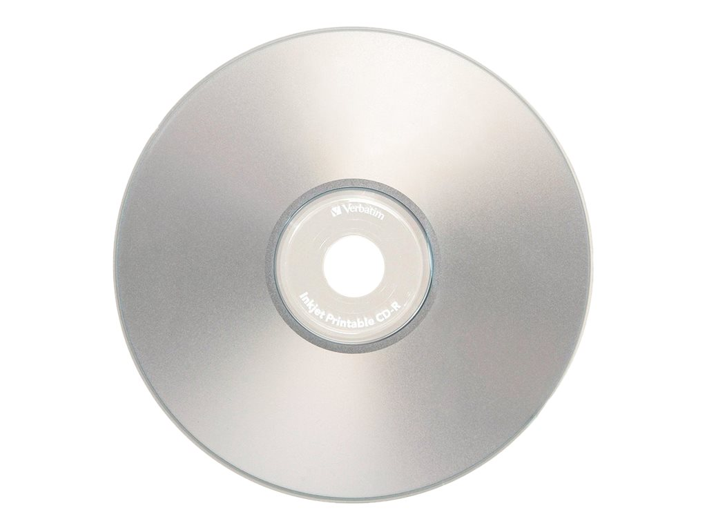 image about Printable Cd identify Verbatim 52x 700MB 80min. Silver Inkjet Printable CD-R Media (10-pack)