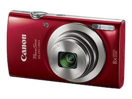 Canon PowerShot ELPH 180 Camera, 20MP, 8x Zoom, Red, 1096C001, 32412641, Cameras - Digital