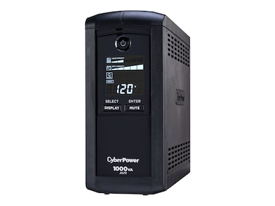 CyberPower 1000VA 600W AVR (9) Outlet RJ-11 RJ-45 Coax Tower LCD Display, CP1000AVRLCD, 7724474, Battery Backup/UPS