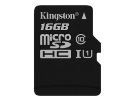 Kingston 16GB Canvas Select MicroSDHC Flash Memory Card, SDCS/16GBSP, 35115158, Memory - Flash