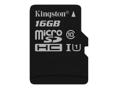 Kingston 16GB Canvas Select MicroSDHC Flash Memory Card, SDCS/16GBSP, 35115158, Memory - Flash