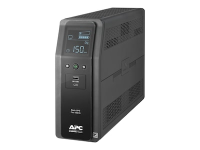 APC Back UPS Pro BR 1500VA, SineWave, (10) Outlets (2) USB Charging Ports, AVR, LCD Interface, BR1500MS, 37356721, Battery Backup/UPS