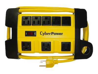 CyberPower Heavy-Duty Metal Housed Power Strip (8) Outlets, 6ft Cord, Yellow, DS806MYL, 32397920, Power Strips