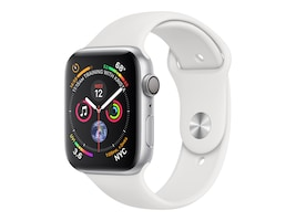 Apple Watch Series 4 GPS, 44mm Silver Aluminum Case, White Sport Band, MU6A2LL/A, 36142262, Wearable Technology - Apple