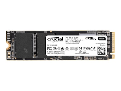 Crucial 500GB P1 PCIe NVMe 3D NAND M.2 Internal Solid State Drive (Retail), CT500P1SSD8, 36257271, Solid State Drives - Internal