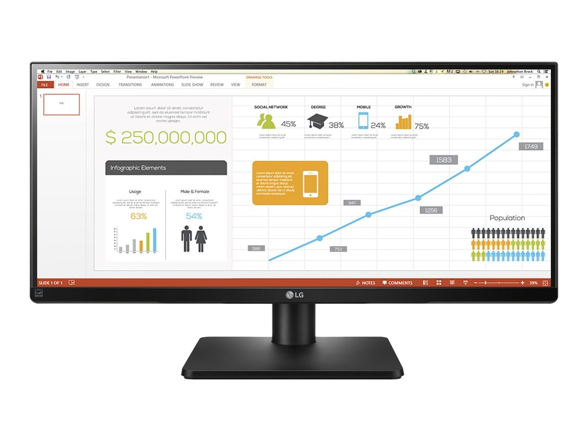 LG 29 UB67-B QHD LED-LCD UltraWide Monitor, Black, 29UB67-B, 18819217, Monitors