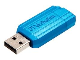 Verbatim 16GB PinStripe USB Flash Drive - Carribean Blue, 49068, 36055791, Flash Drives