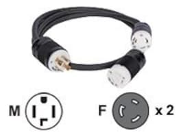 Eaton Power Splitter Cable, L14-30P to (2) L6-30R, (4 ft 2 ft), CBL139, 9414138, Power Cords
