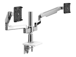 Humanscale MFlex M2.1 with Dual Monitor Support, Clamp Mount, Aluminum White, X2BCMWETBETB12-IND, 36933267, Stands & Mounts - Desktop Monitors