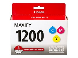 Canon Cyan, Magenta & Yellow PGI-1200 Ink Tanks (1 of Each), 9232B005, 17914386, Ink Cartridges & Ink Refill Kits - OEM