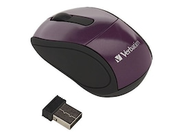 Verbatim Wireless Mini Travel Mouse, Purple, 97473, 12361559, Mice & Cursor Control Devices