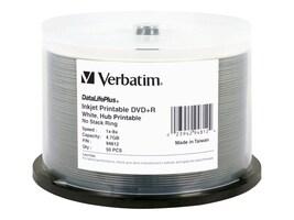 Verbatim DataLifePlus 4.7GB 8x Speed DVD+R Inkjet Printable, Hub Printable, 50-pack Spindle, 94812, 4899754, DVD Media