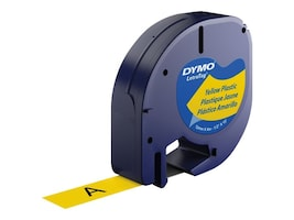 DYMO LetraTag Label - Hyper Yellow Plastic w Black Printing, 91332, 193622, Paper, Labels & Other Print Media