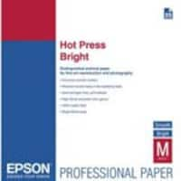 Epson 17 x 22 Fine Art Hot Press, Two-Sided, Smooth Matte Cotton Rag Paper, Bright, 25-Sheets, S042331, 14620577, Paper, Labels & Other Print Media