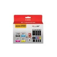 Canon PGI-250 CLI-251 4 Color Combo Pack, 6497B004, 15901231, Ink Cartridges & Ink Refill Kits - OEM