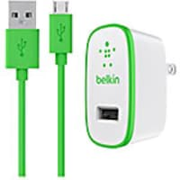 Belkin Universal Home Charger, Micro-USB Charge Sync Cable, 10W 2.1A, Green, F8M667TT04-GRN, 17733139, Battery Chargers