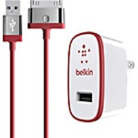 Belkin Home Charger for iPad, 10W 2.1A, 30-pin Cable, Red, F8J141TT04-RED, 17742094, Battery Chargers
