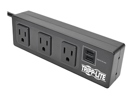 Tripp Lite Protect It! 3-Outlet Surge Protector w  Mounting Brackets, 10ft Cord, 510 Joules, 2 USB Ports, Black, TLP310USBS, 33557913, Surge Suppressors