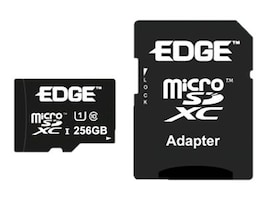 Edge 256GB Micro SDXC Card with SD Adapter, Class 10, PE253585, 34502041, Memory - Flash