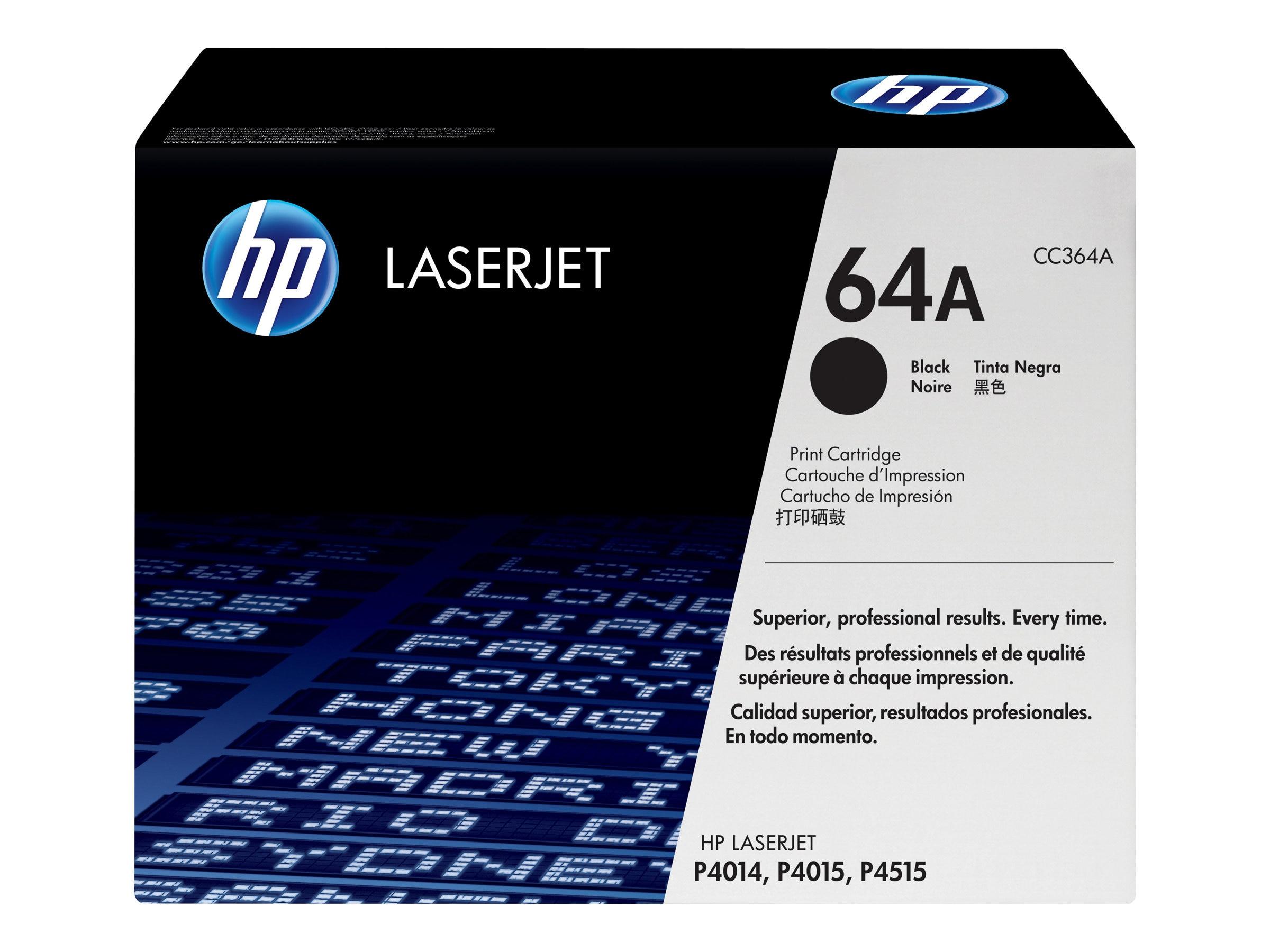 HP 64A (CC364A) Black Original LaserJet Toner Cartridge for HP LaserJet P4015 & P4515 Series, CC364A, 8484661, Toner and Imaging Components