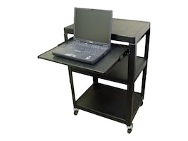 Buhl AV Steel Cart, Adjustable 26 to 42 with Pull Out Notebook Shelf and Electric, HASHV4226E, 8848006, Computer Carts