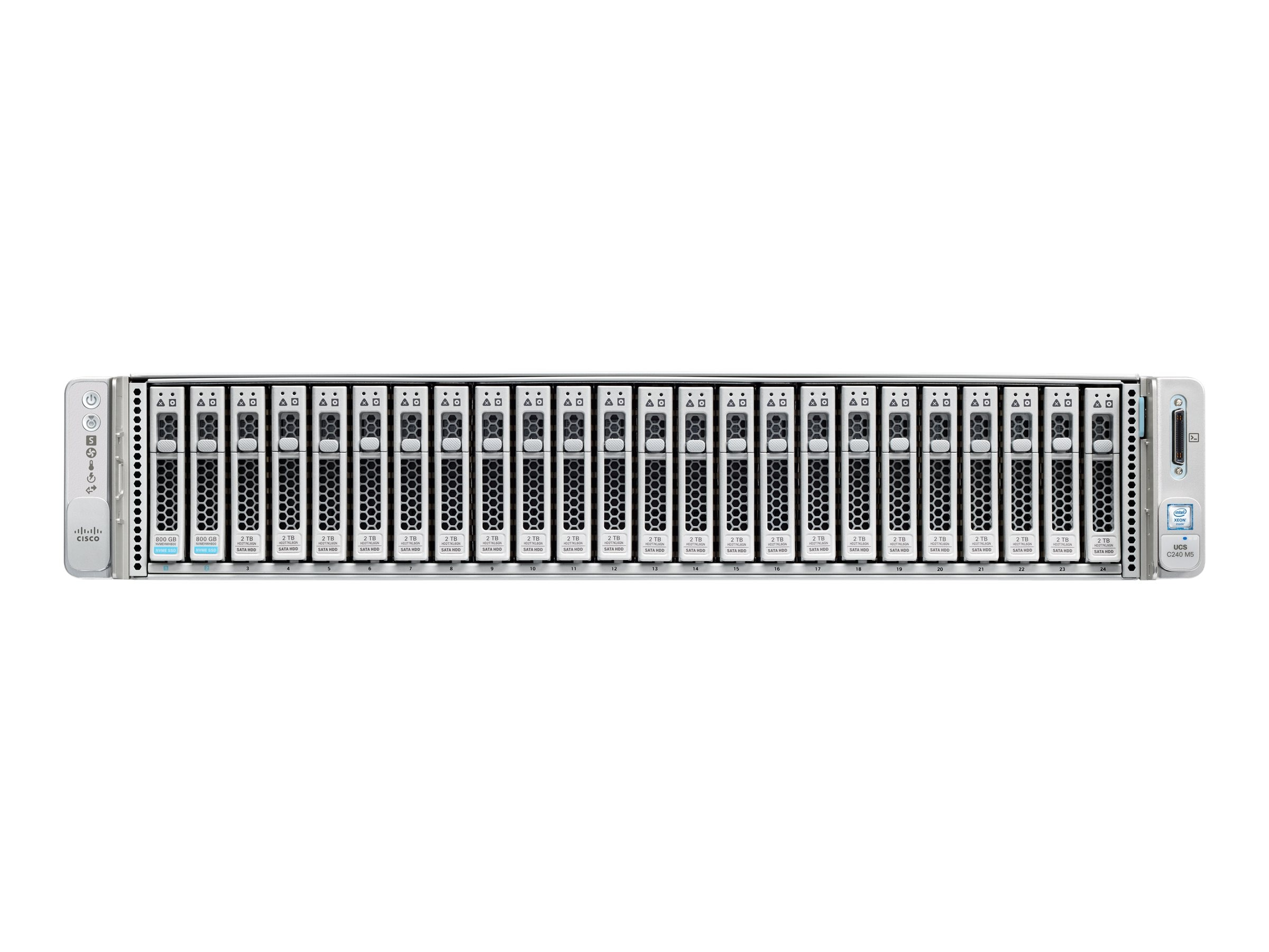Cisco Barebones, UCS C240 M5 2U RM No CPU No RAM No HDDs 2xCPU slots  24xDIMM slots 26x2 5