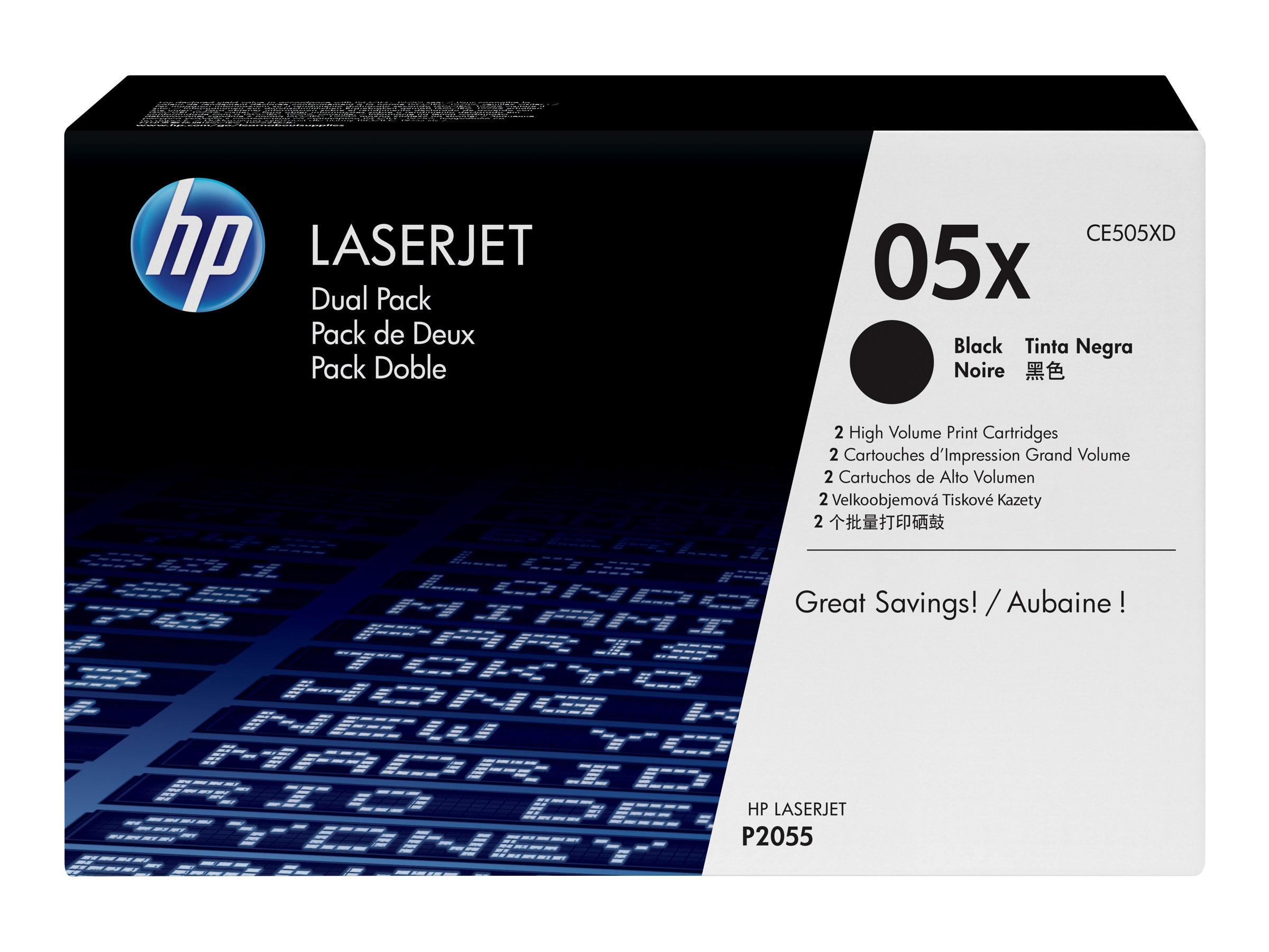 HP 05X (CE505XD) 2-pack High Yield Black Original LaserJet Toner Cartridges, CE505XD, 11226321, Toner and Imaging Components