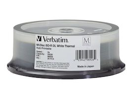 Verbatim 6x 50GB M-DISC BD-R DL Thermal Hub Printable Media (25-pack Spindle), 98926, 30905071, Blu-Ray Media