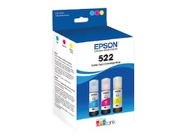 Epson T522 Multi-Color Ink Bottle Pack - Cyan, Magenta, Yellow (3-pack), T522520-S, 36790729, Ink Cartridges & Ink Refill Kits - OEM