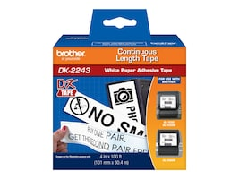 Brother 4 x 100' DK2243 Black White Continuous Length Paper Tape, DK2243, 7641126, Paper, Labels & Other Print Media