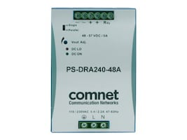 Comnet 48VDC 240W 5A DIN High Temp -40 to +71 Degrees C for PoE Power Supply, PS-DRA240-48A, 31176105, Power Supply Units (internal)