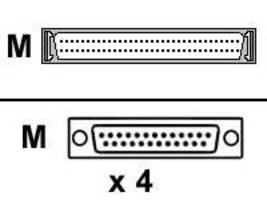 Digi 4-port DB25 M DTE Fan-Out Cable, 76000522, 215987, Cables