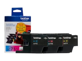 Brother Innobella LC71 Color Ink Cartridges (3-pack of Cyan, Magenta & Yellow), LC713PKS, 13261541, Ink Cartridges & Ink Refill Kits - OEM