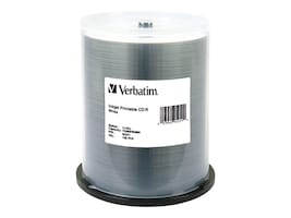 Verbatim 52x 700MB 80min White Inkjet Printable CD-R Media (100-pack spindle), 95251, 6505915, CD Media