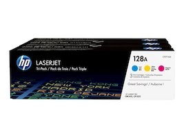 HP 128A (CF371AM) 3-pack Cyan Magenta Yellow Original LaserJet Toner Cartridges, CF371AM, 15507445, Toner and Imaging Components - OEM