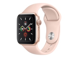 Apple Watch Series 5 GPS, 40mm Gold Aluminum Case with Pink Sand Sport Band - S M & M L, MWV72LL/A, 37523542, Wearable Technology - Apple Watch Series 4
